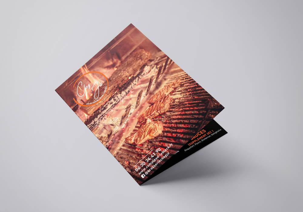 graphisme création menu restaurant chez ju carcassonne réalisé par agence de communication coq noir montpellier lyon