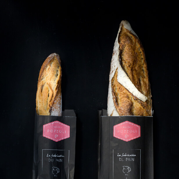 Photo baguette de pain Boulangerie Pozzoli Lyon - Cover projet Agence de communication Coq Noir