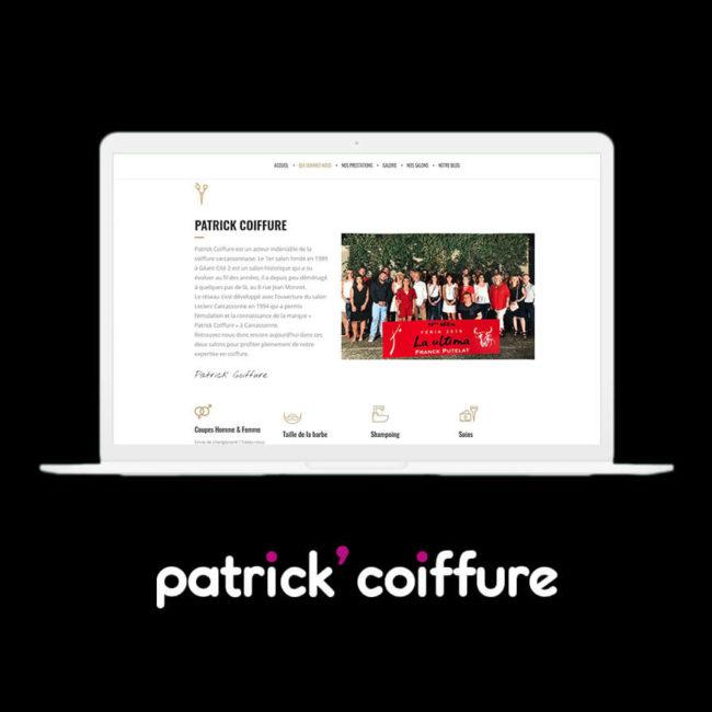 Mockup Site internet Patrick Coiffure - Agence de communication Coq Noir Montpellier Lyon